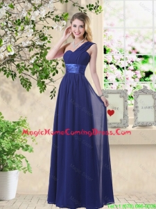 Cheap One Shoulder Floor Length Homecoming Dresses in Navy Blue