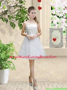 Classical Appliques and Beaded White Homecoming Dresses with Strapless