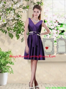Discount V Neck Zipper Up Homecoming Dresses in Dark Purple