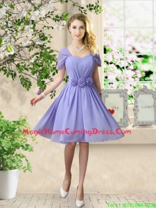 Elegant Hand Made Flowers Homecoming Dresses with Short Sleeves