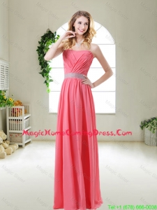 Elegant Strapless Homecoming Dresses in Watermelon Red