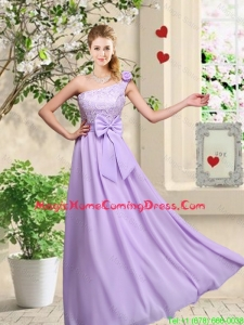 Fashionable One Shoulder Homecoming Dresses with Hand Made Flowers