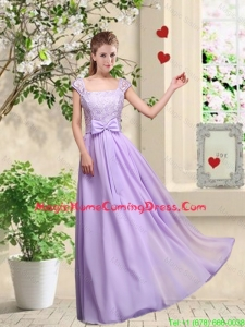 New Style Laced and Bowknot Homecoming Dresses with Square