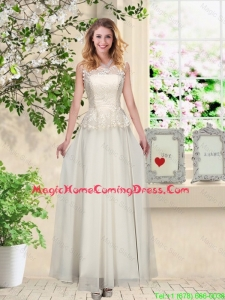 Perfect Champagne Homecoming Dresses with Appliques and Lace