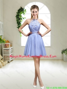 Pretty Lavender Halter Top Homecoming Dresses with Appliques for 2016