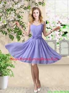 Simple 2016 Straps Hand Made Flowers Homecoming Dresses