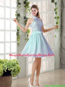 2016 Fall A Line High Neck Belt Homecoming Dresses with Lace