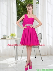 2016 Summer A Line One Shoulder Belt Homecoming Dresses