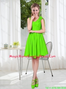 A Line Hand Made Flowers Homecoming Dresses in Spring Green