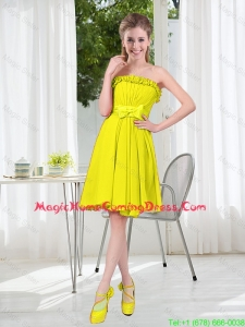 A Line Strapless Bowknot Custom Made Homecoming Dresses for Party