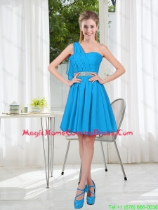 Affordable Short One Shoulder Homecoming Dress with Beading