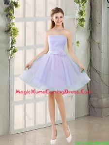 Artistic A Line Strapless Belt Homecoming Dresses with Hand Made Flowers
