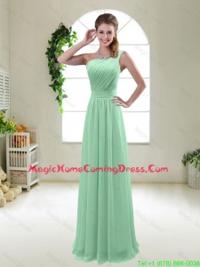 Classical Apple Green One Shoulder Homecoming Dresses with Zipper up