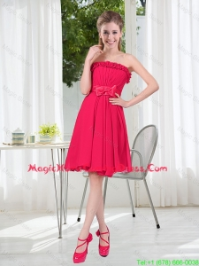 Coral Red Strapless Bowknot Homecoming Dresses for 2016 Summer