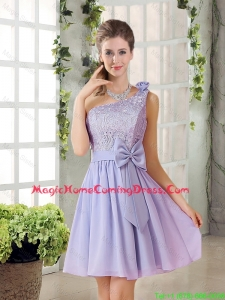 Custom Made A Line One Shoulder Lace and Bowknot Homecoming Dresses