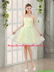Custom Made A Line Strapless Tulle Homecoming Dresses with Belt