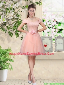 Discount Off the Shoulder Hand Made Flowers Homecoming Dresses in Baby Pink