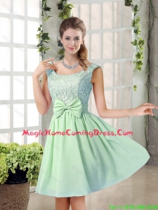 Elegant A Line Straps Lace Homecoming Dresses with Bowknot