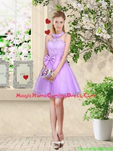 Feminine Halter Top Laced and Bowknot Homecoming Dresses in Lavender