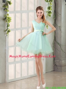 Gorgeous V Neck Strapless Homecoming Dresses with Bowknot