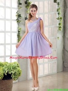 Pretty A Line One Shoulder Homecoming Dresses with Hand Made Flowers