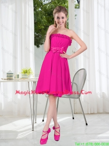 Summer A Line Strapless Short Homecoming Dresses with Bowknot