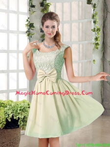 2016 Summer A Line Straps Lace Homecoming Dresses with Bowknot