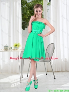 A Line Strapless Turquoise Homecoming Dresses for Spring