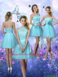 Beautiful A Line Aqua Blue Homecoming Dresses with Appliques