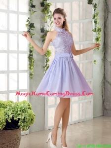 Beautiful A Line High Neck Lace Homecoming Dresses with Lavender