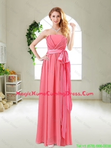 Beautiful Strapless Watermelon Red Homecoming Dresses with Sash