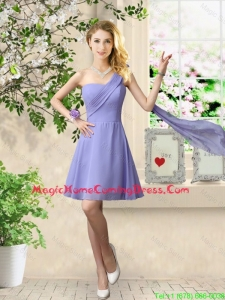 Cheap One Shoulder Ruched Homecoming Dresses in Lavender