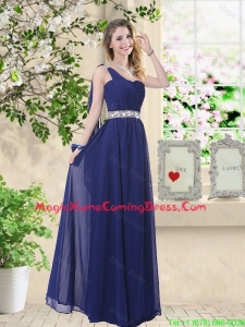 Comfortable One Shoulder Homecoming Dresses in Navy Blue