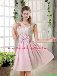 Custom Made A Line Straps Homecoming Dresses with Bowknot