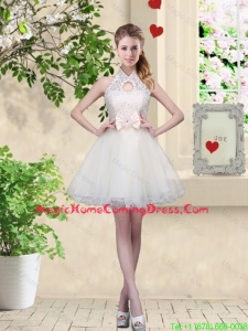 Feminine A Line Halter Top Homecoming Dresses with Bowknot and Lace