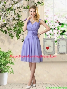 Luxurious Hand Made Flowers Homecoming Dresses with V Neck