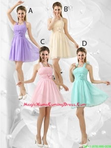 Luxurious Short Halter Top Homecoming Dresses with Ruching