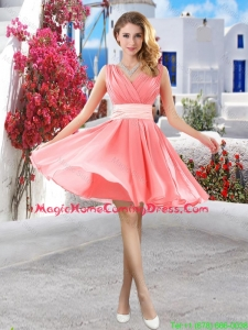 Perfect Short Belt and Ruched Homecoming Dresses in Watermelon
