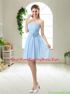 Perfect Strapless Homecoming Dresses with Hand Made Flowers
