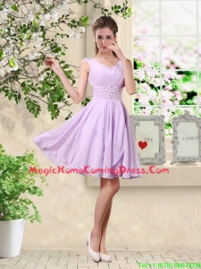 Popular V Neck Lavender Homecoming Dresses with Beading