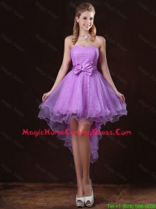 Pretty Strapless Bowknot Homecoming Dresses with High Low
