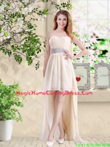 Affordable High Low Sweetheart Homecoming Dresses in Champagne