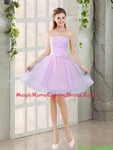 Custom Made A Line Strapless Ruching Homecoming Dresses with Belt