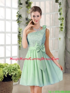 Custom Made One Shoulder Lace 2016 Homecoming Dresses with Bowknot