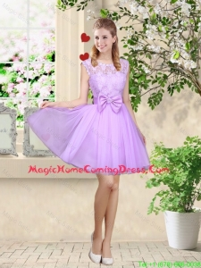 Decent Bateau A Line Homecoming Dresses with Lace and Bowknot