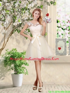 Perfect V Neck Appliques and Belt Homecoming Dresses in Champagne