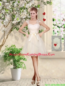 Suitable Straps Appliques and Belt Homecoming Dresses with Lace Up