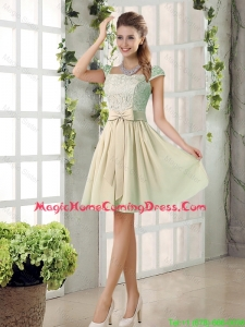 2016 Spring A Line Square Homecoming Dresses with Bowknot