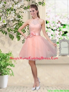 Artistic Halter Top Appliques and Laced Homecoming Dresses in Baby Pink
