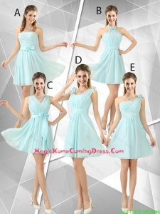 Beautiful A Line Ruched Homecoming Dresses in Light Blue